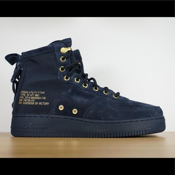 promo code ce532 f1eda Mens Nike SF AF1 Mid Obsidian Black Boots NWT